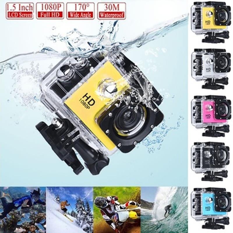 1080P HD 2inch LCD Screen Sports 30m Waterproof Action Camera Set