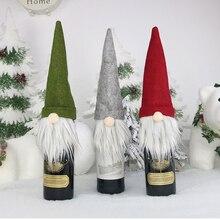 Natal garrafa de vinho toppers decorativo gnome sueco garrafa de vinho topper capa para casa férias decoração de natal