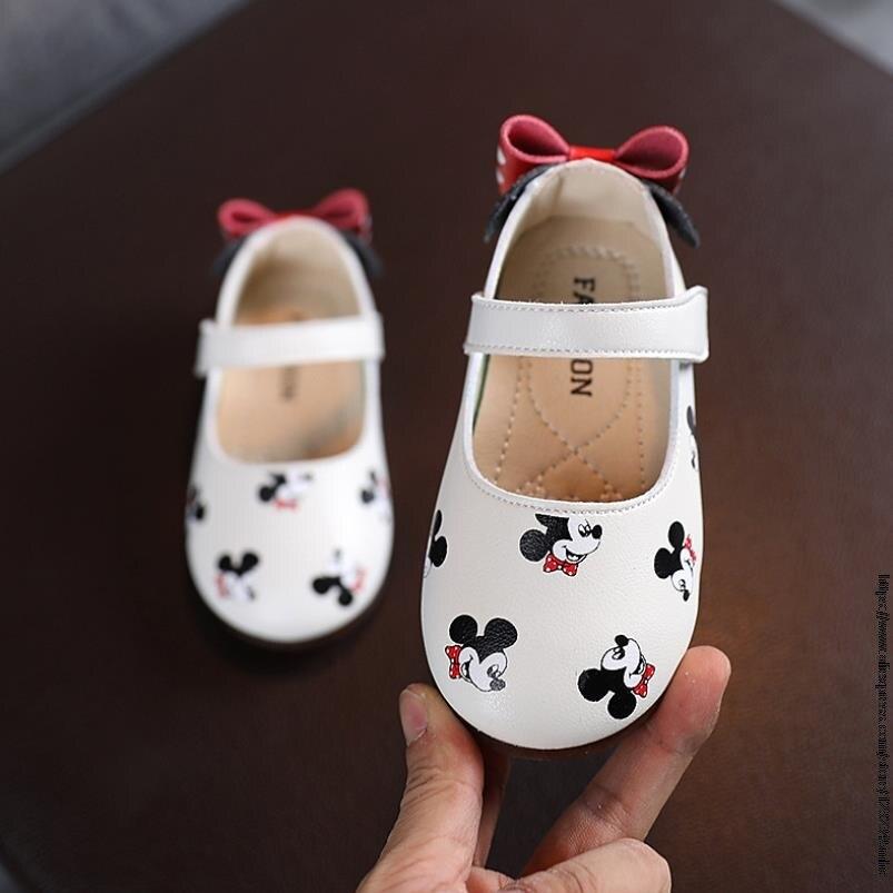 Туфли кожаные для девочек с бантом, Принцесса Диснея Микки Мауса, на плоской подошве, туфли бабочки, обувь для начинающих ходить детей Кроссовки    АлиЭкспресс