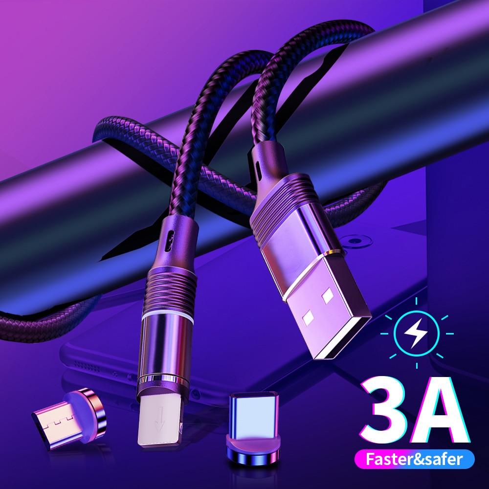 Cable de carga magnético de 1M para iPhone 11 pro Samsung S8 S9 Huawei P30 LED USB tipo C Micro USB Cable de carga rápida Cable magnético
