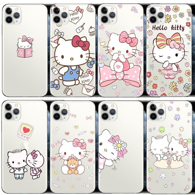 Funda de teléfono de dibujos animados de Hello Kitty para iphone Xs MAX XR X 4 5 5S 5C ES 6 6s 8 7plus 11Pro MAX 11Pro, funda trasera de TPU suave