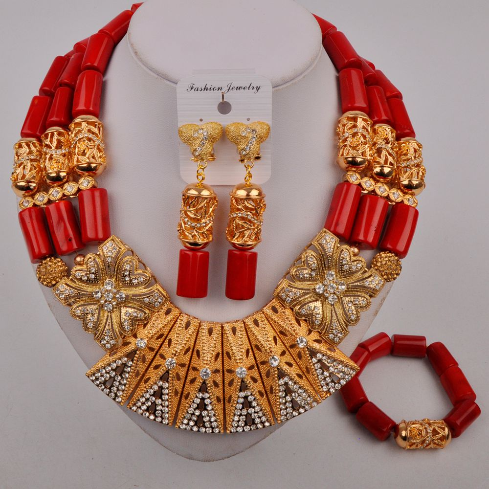 Review Red Coral Jewelry Necklace Nigerian Wedding African Beads Jewelry Set Dubai Gold Bridal Set