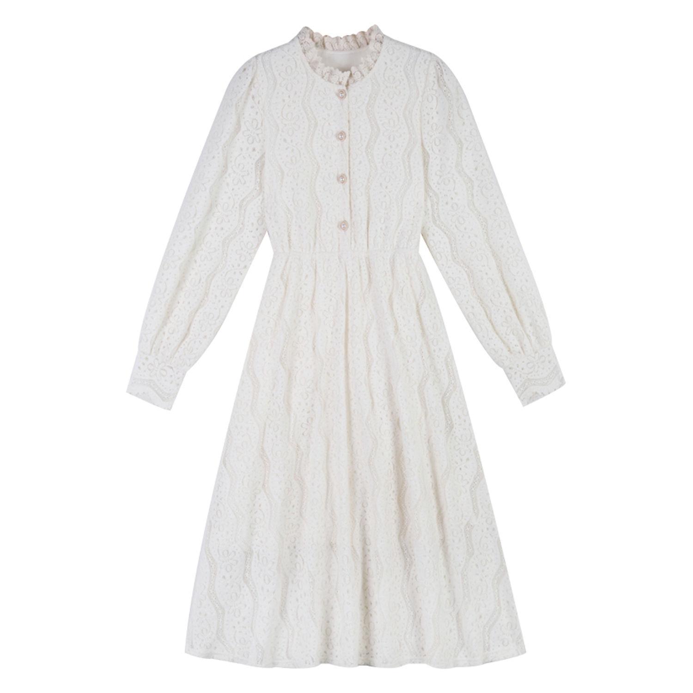 French Vintage Dress Women Spring Long Sleeve Lace One Piece Dress Korean 2021 O-Neck Fariy Elegant Retro Dress Female Button