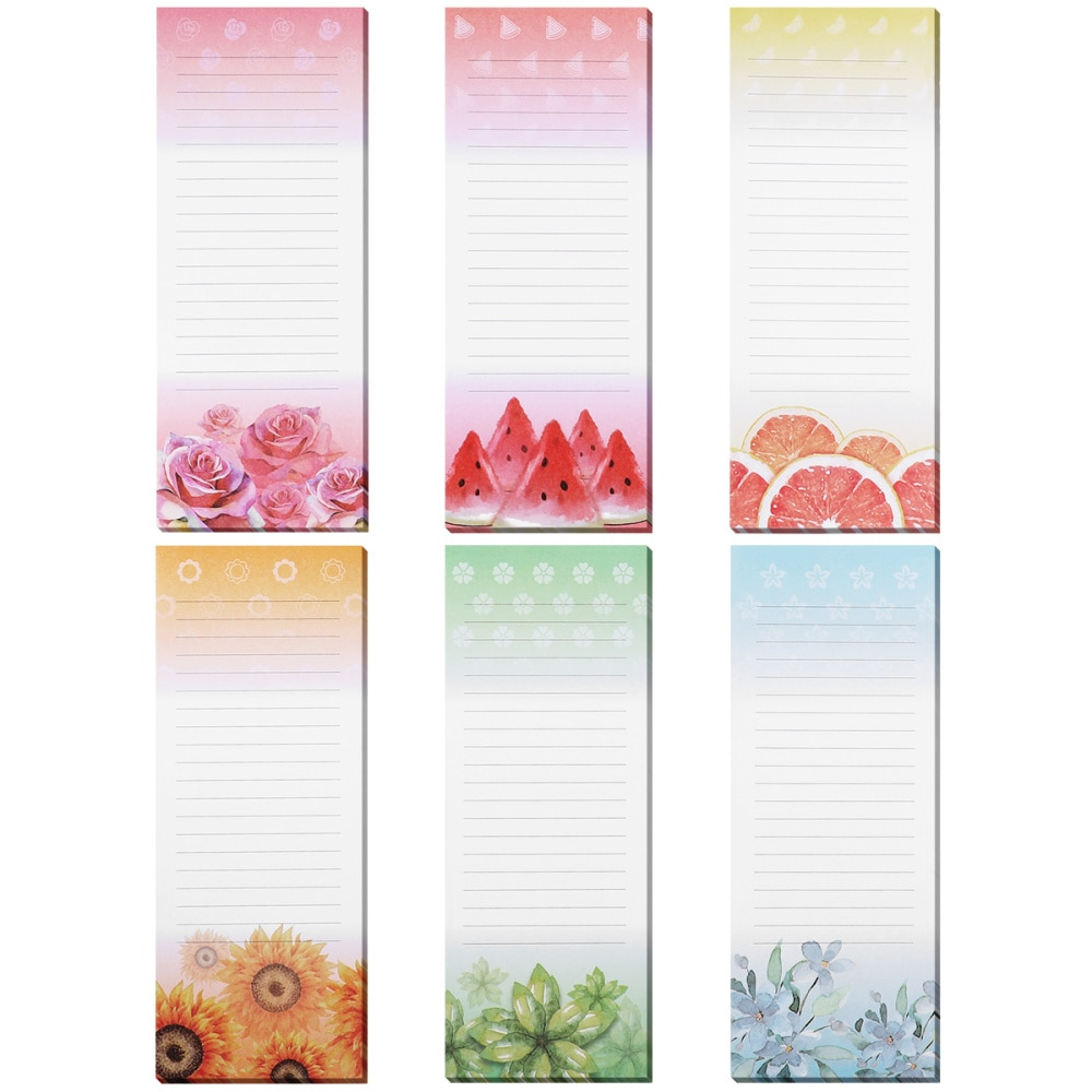 STOBOK 6PCS Magnetic Self-stick Notepads Refrigerator Reminders Memo Pad for Grocery Shooping