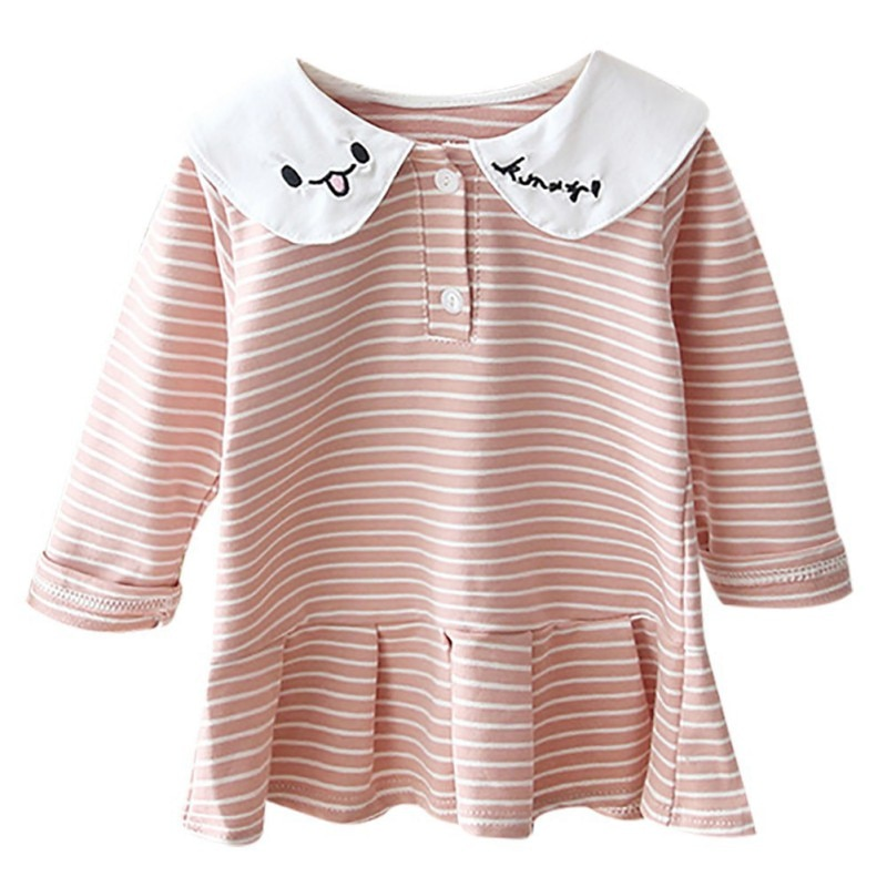 6Girls Dress Children Toddler Baby Girls Long Sleeve O-Neck Cartoon Stripe Print Dress Kids  Autumn Casual Pageant Dresses