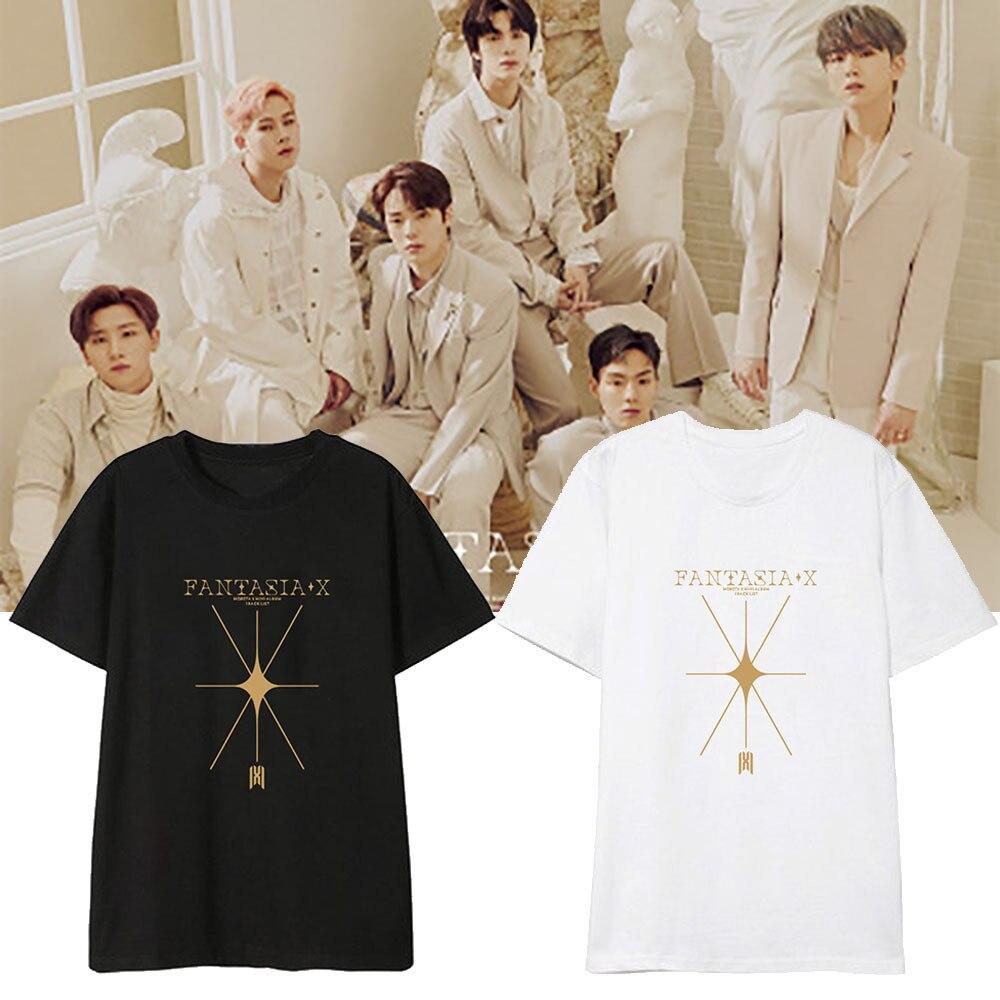 Nueva Kpop coreano MONSTA X-Fantasía X K-camisetas pop ropa informal estilo Hip Hop camisas de hombres/mujeres Harajuku Kawaii camiseta Femme gotas