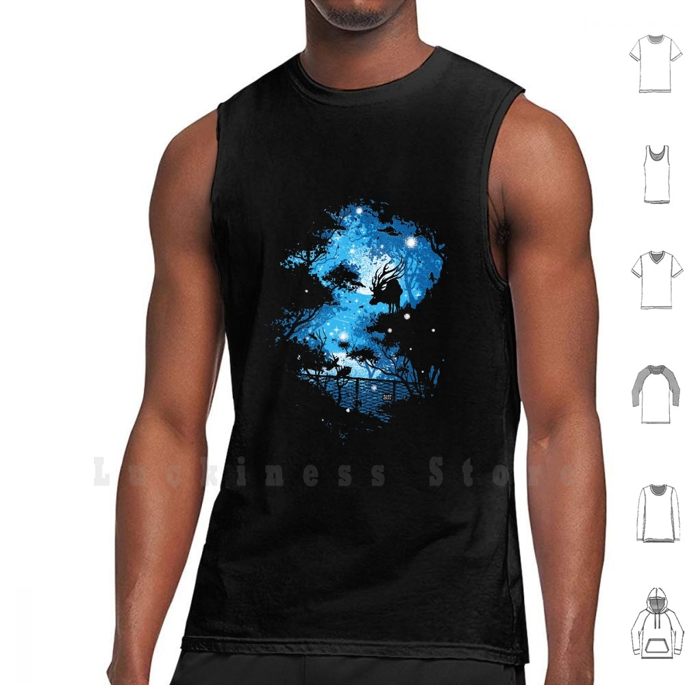 Blue Moon tank tops vest sleeveless Deer Forest Blue Night Keep Out Artistic Moon Cosmic Robson Borges Love Negative