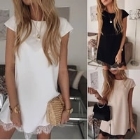 2021summer short sleeve loose round neck solid lace dress with hem