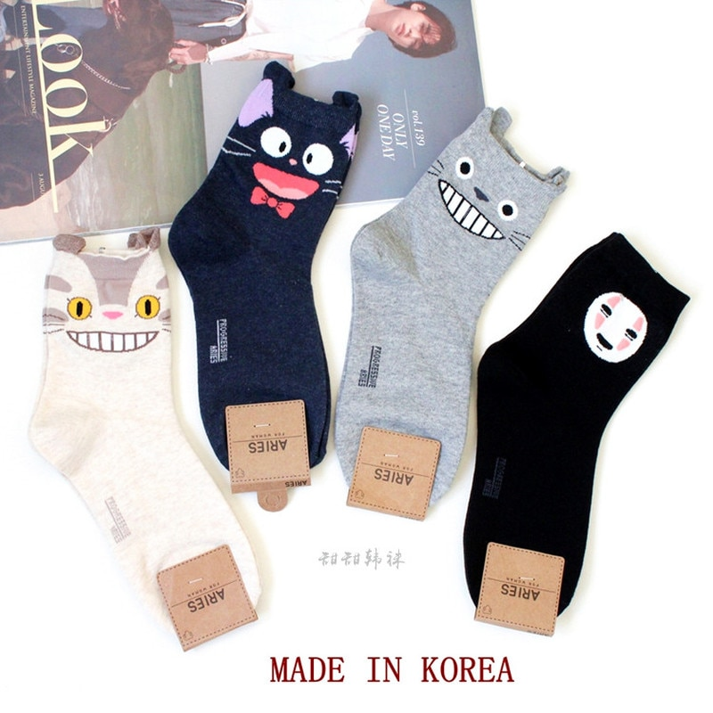 Cartoon Totoro Socken Frauen Keine Gesicht Mann Socke Katze Nette Lustige Mode Anime Frühling Herbst Schweiß Absorption Grau Klassische Baumwolle socke