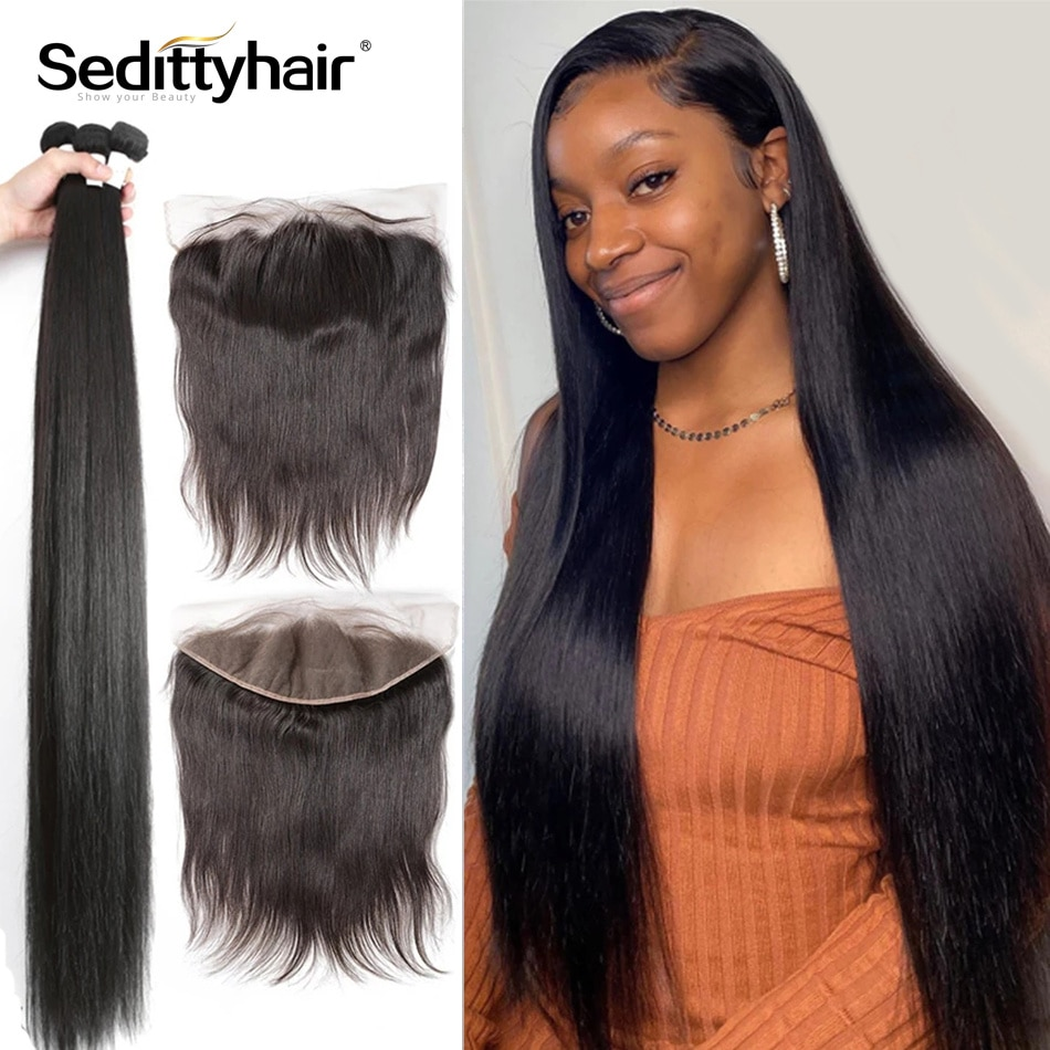 28 30 32 34 40 Inch Malaysian Straight Human Hair Weave Bundles With 13x4 Frontal  closure Remy Hair Extension Wholesale