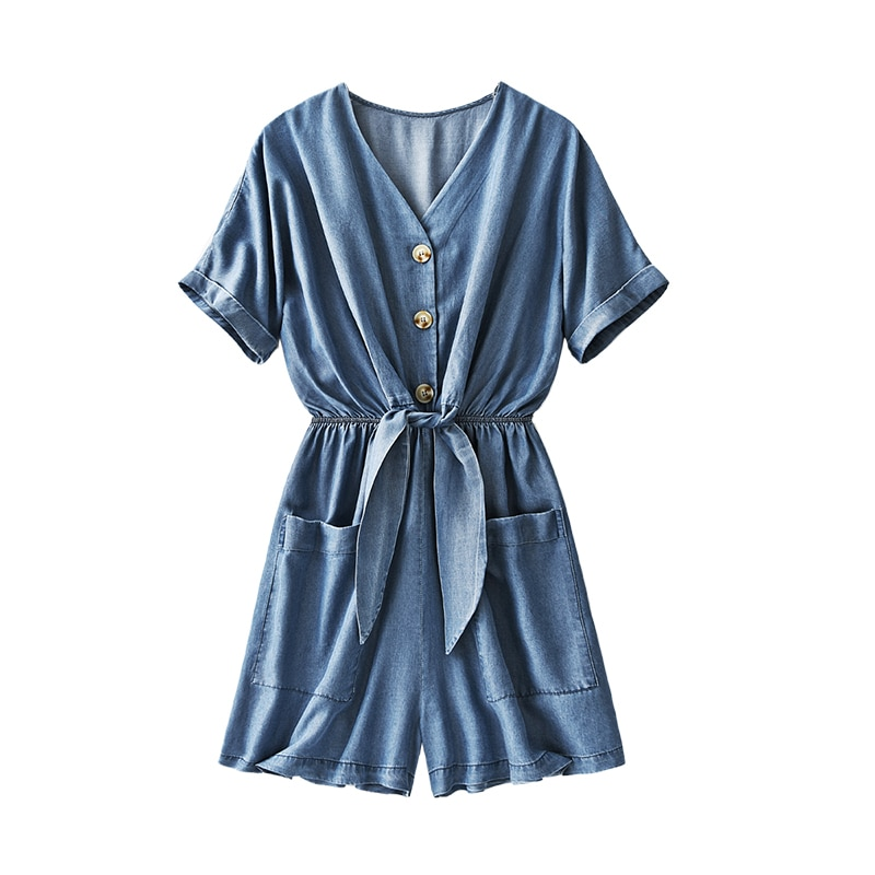 SHUCHAN Tencel/Lyocell Playsuits England Style Loose Solid Button body suit womens jumpsuit korean fashion clothing rompers