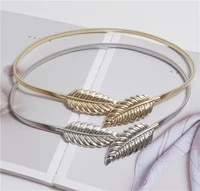 fashion metal waist chain leaf shaped all match vintage belt without buckle elastic band belt adjust freely skirt must match