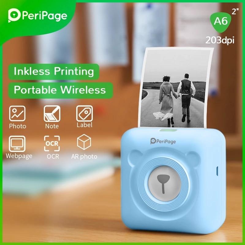PeriPage-طابعة حرارية محمولة تعمل بالبلوتوث للصور ، طابعة صغيرة لهاتف Android و iOS ، طابعة ملصقات الجيب مقاس 58 مللي متر
