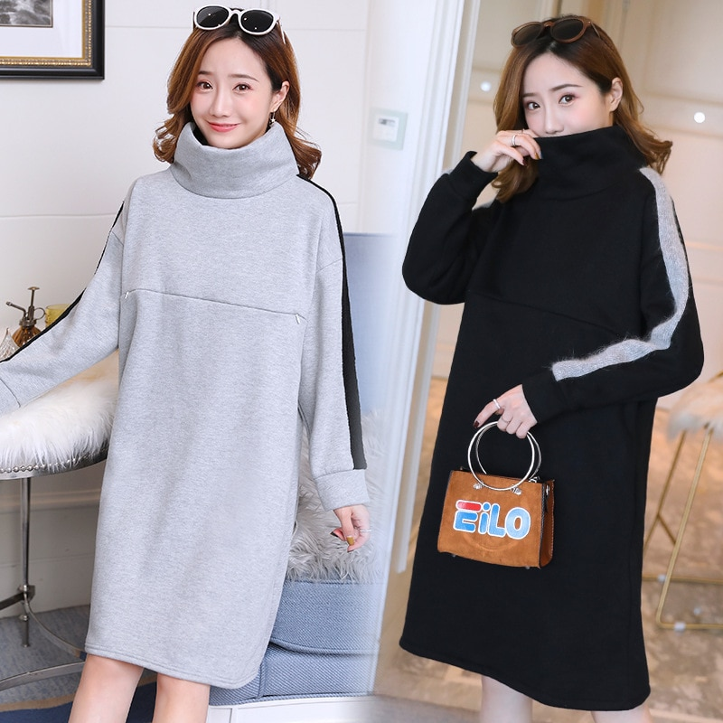 2019 Otoño e Invierno mujeres embarazadas cálido vellón vestido de enfermería moda coreana más terciopelo lactancia vestido de maternidad