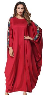 2020 Abayas for Women Muslim Dress Elegant Islamic clothing Jubah Loose Robe Musulmane Drapery Dress Red AE281