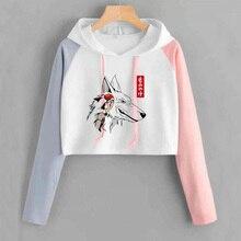 Prinses Mononoke Animen Crop Top Hoodie Vrouwen Harajuku Hooded Sweatshirts Japan Manga Gedrukt Volledige Mouw Trui Vrouwelijke Tops