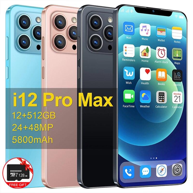 الإصدار العالمي I12 Pro Max 6.7-inch الهاتف الذكي أندرويد الهاتف 12G + 512G HD شاشة 5G الهاتف المحمول معرف الوجه 5800mAh الهاتف المحمول