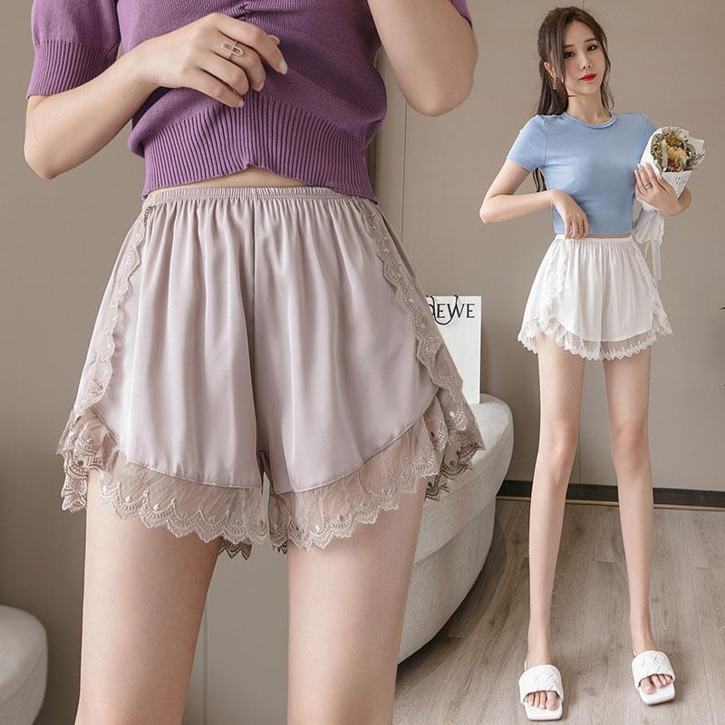 Dentelle pantalons de sécurité femmes glace soie grande taille Leggings été Anti-lumière sans friser tracless assurance Shorts dormir