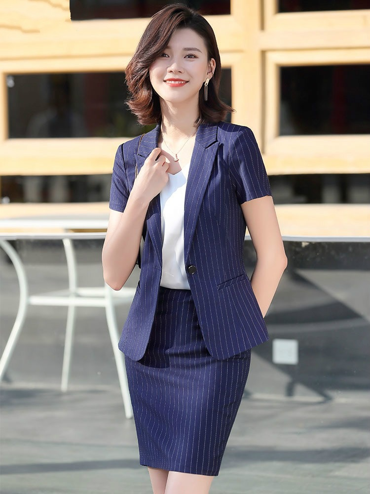 2020 Business Suit Female Summer New Short-Sleeve Suit Formal Striped Interview Work Clothes Suit Skirt Women Professional Wear
