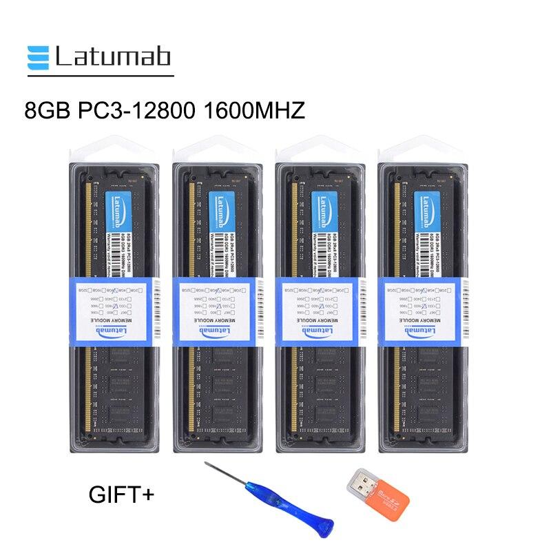 Latumab 8GB PC3 16GB DDR3 1600MHZ 12800 Memória De Desktop Memória Ram Dimm 240 Pinos 1.5V Área De Trabalho PC de Memória RAM Módulo de Memória