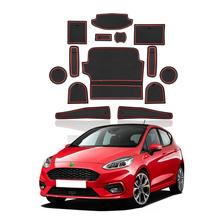 RUIYA Car Door Groove Mat For Ford Fiesta MK8 2019 2020 Car Anti-Slip Dust Protection Gate Slot Pads Auto Interior Accessories