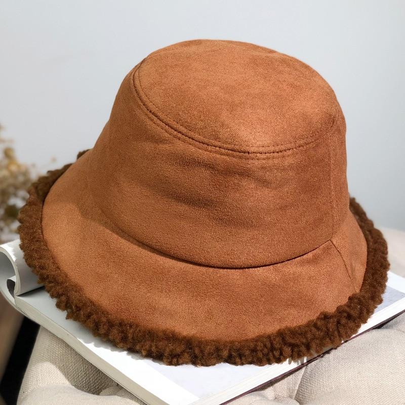 Осенне-зимняя теплая женская панама, зимняя замшевая плотная Рыбацкая шляпа из овечьей шерсти, уличная теплая Панама для защиты от солнца