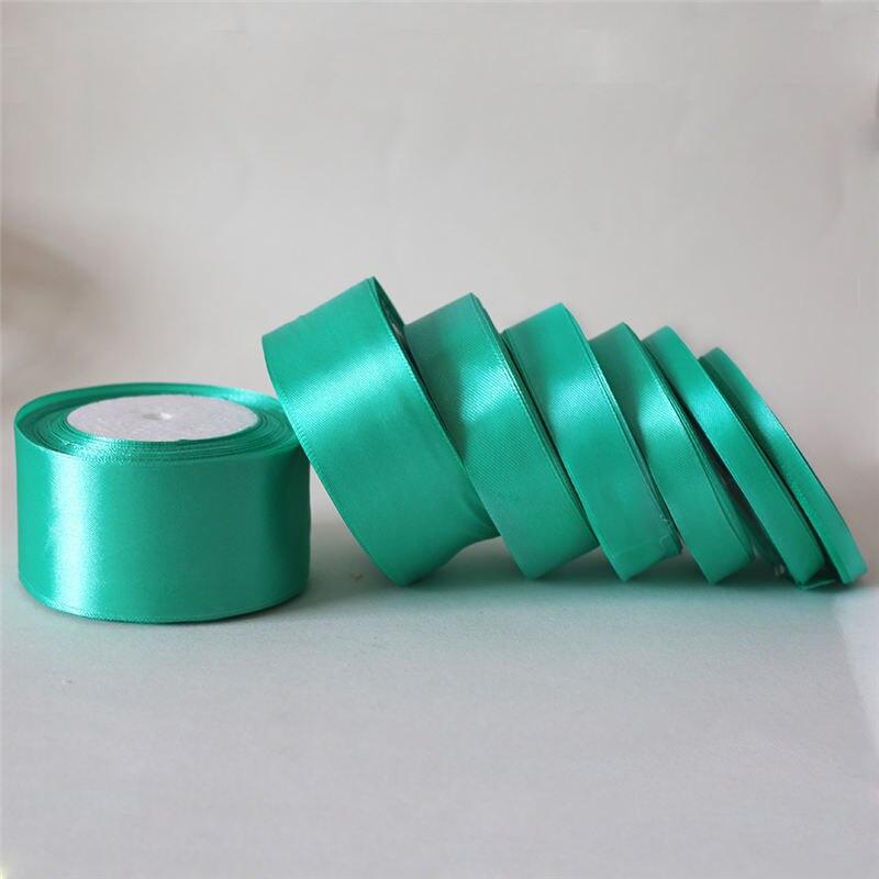25 yardas/verde menta 6mm-50mm cinta de satén Grosgrain caja de regalo de boda paquete DIY Material arco fiesta Decoración Accesorios D7