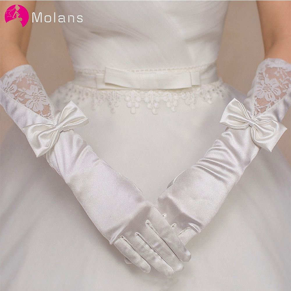 MOLANS מט סאטן כלה כפפות קצר תחרה לקצץ שנהב חתונה כלה אבזר יד אורך חתונת כפפה