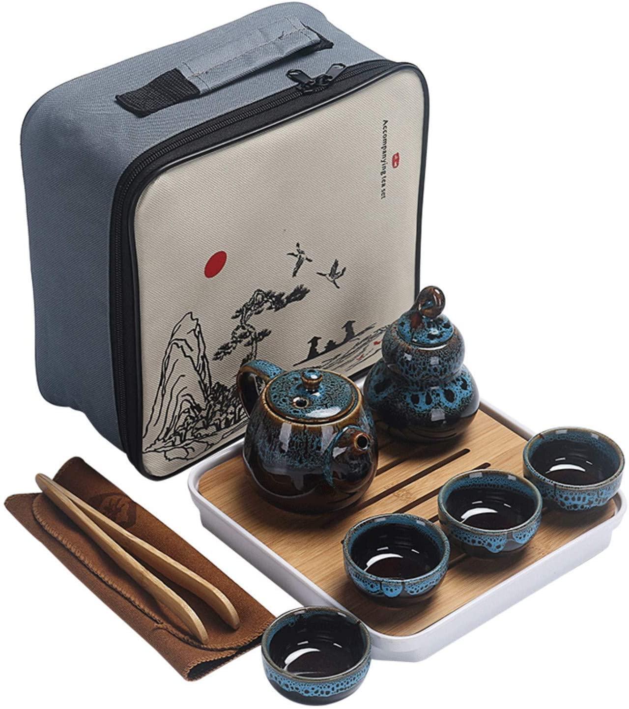 طقم شاي الكونغفو ، طقم شاي للسفر محمول مع إبريق شاي ، شاي ، علبة شاي ، صينية الشاي و شنطة هدايا للسفر ، المنزل ، الأماكن الخارجية ، المكتب