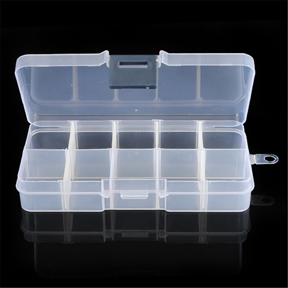 AACAR 10 Cells Nail Tools Little Item Pill Nail Art Storage Case Glitter Gems Decoration Box