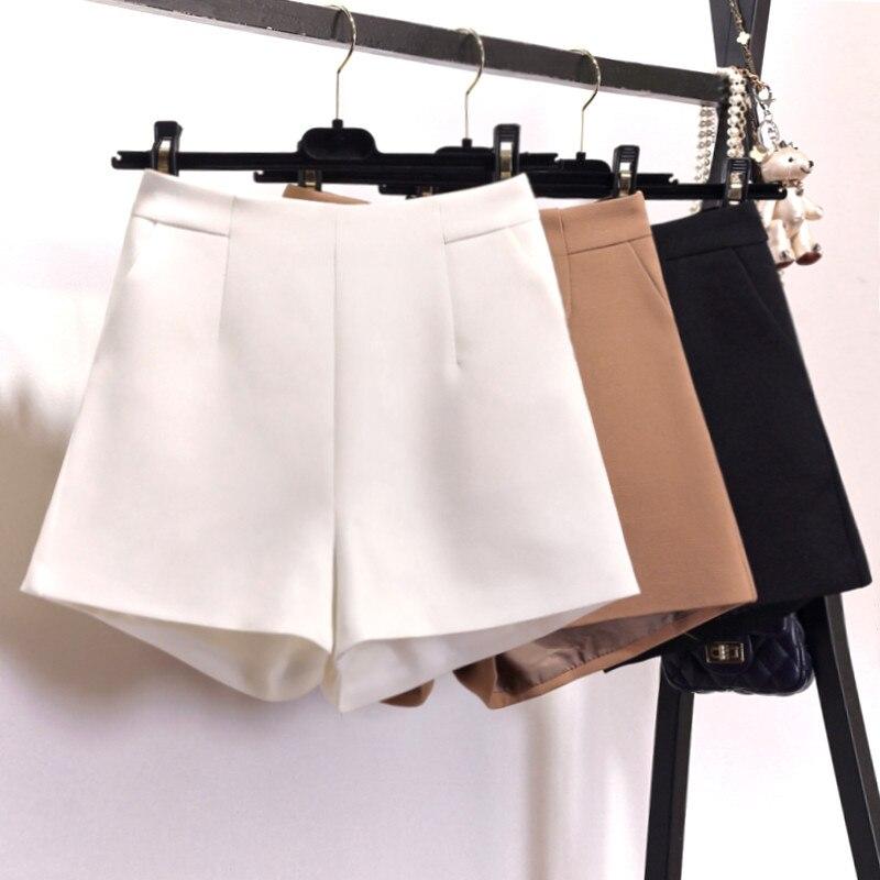 Black White Chiffon Shorts Women Summer Elegant Office Wide Leg Suit Shorts Zipper Casual Short Femme High Waist Shorts C6107