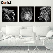Conisi 3 panneaux Animal Lion photo abstraite mur Art peintures affiche sur toile imprime décor à la maison chambre décoration