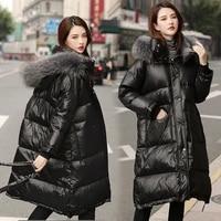 white duck down jacket female winter 2021 real raccoon fur collar parkas women hooded black coat casual casaco feminino gxy116