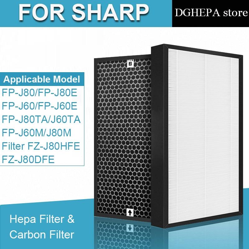 sharp air purifier filter kc a50jw kc a51r b hepa filter fz a51hfr actived carbon filter fz a51dfr filter for humidifier parts HEPA Filter FZ-J80HFE and Actived Carbon Filter FZ-J80DFE for Sharp FP-J60TA FP-J80TA FP-J60 FP-J80 Air Purifier parts