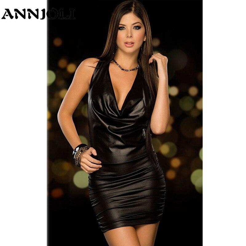 ANNJOLI Sexy Wetlook Backless Sling Dress Hot Pu Faux Leather Mini Shiny Dress Teddy Clubwear Sexy Latex Catsuit Erotic Babydoll