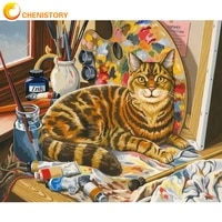 chenistory painting by numbers animal on canvas with frame diy kit for adults drawing cat oil picture of coloring by numbers art