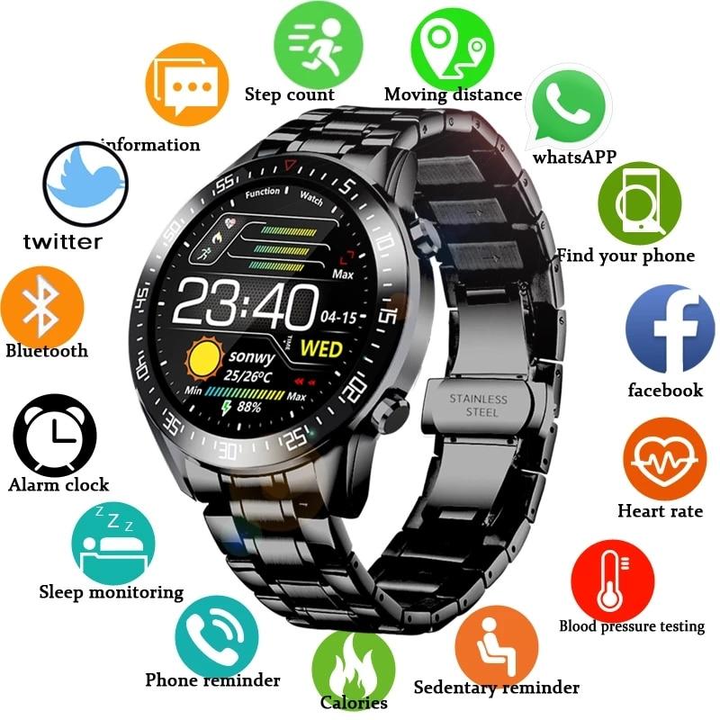 LIGE ساعة ذكية الرجال ساعة بشاشة تعمل باللمس معدل ضربات القلب ضغط الدم رصد المعلومات تذكير بلوتوث دعوة رجل Smartwatch