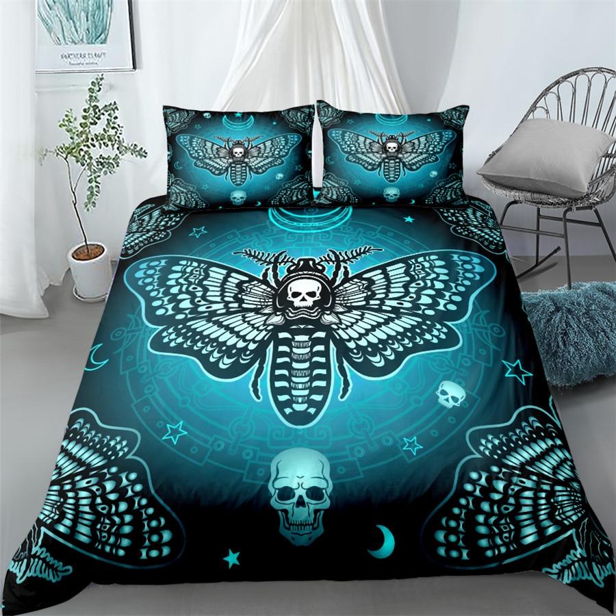 طقم سرير جمجمة موث الموت سرير الملك الملكة مزدوج كامل التوأم حجم واحد أغطية سرير مجموعة