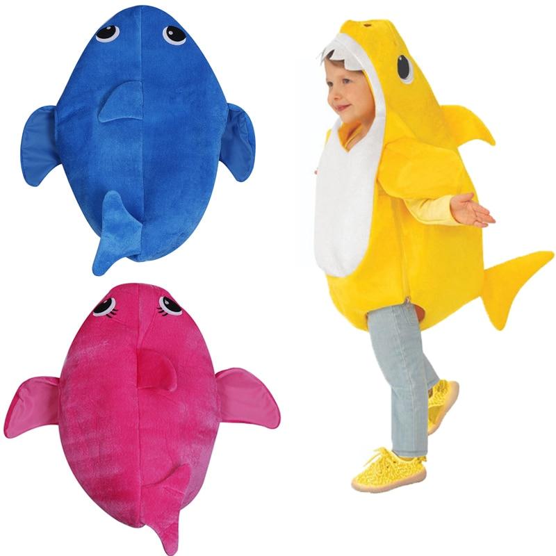 Unisex Deluxe Shark Cosplay niño divertido lindo Animal en el océano traje de ataque Mono para Halloween ropa para bebés E42A13
