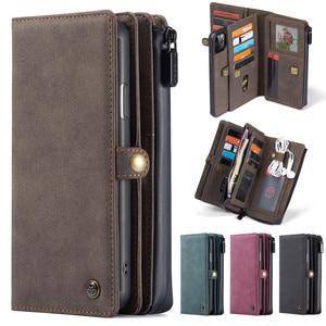 CaseMe Retro PU Leather Wallet Magnetic Detachable Cover Case Zip Functional For Apple iPhone 11 Pro Max XR XS Max SE 2020 i8 i7