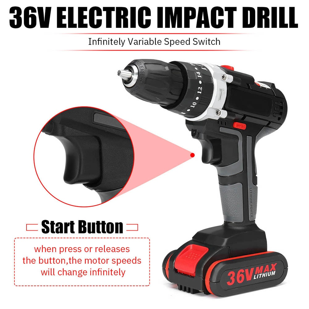 Multifunctional DC 36V Cordless Electric Impact Drill Screwdriver Power Driver 25+3 gears Impact drill electric drill enlarge
