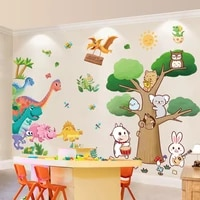 cartoon dinosaurs wall stickers diy animals trees mural decals for kids rooms baby bedroom children nursery home decoration