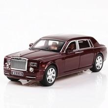 1:24 Diecast Alloy Car Model Rolls Royce Phantom Metal Toy Car Wheels Simulation Sound Light Pull Back Car Collection Kids Gift