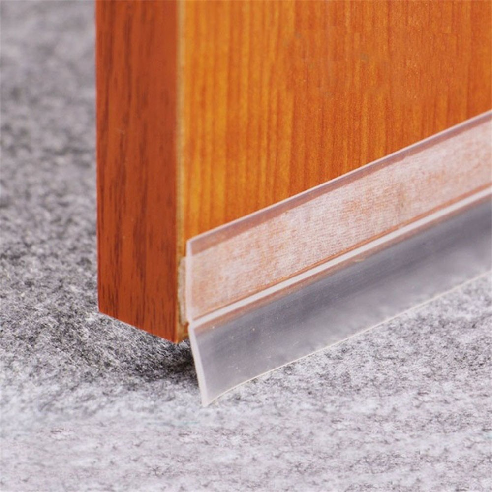 Transparent 1M/3M Window Door Bottom Self Adhesive Silicone Rubber Seal Weathering Strip Door Sealing Bar Window Sealing Tape