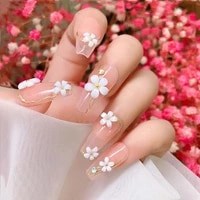 white resin five petal flower nail jewelry fresh and elegant three dimensional small flower nail jewelry