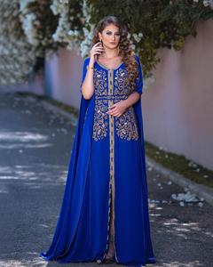 Bbonlinedress Moroccan Caftan Evening Dresses Embroidery Appliques Long Evening Dress with Jacket Arabic Muslim Party-Dress