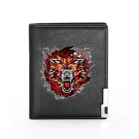 2020 new fashion wolf head printing mens wallet leather purse for men credit card holder short male slim coin money bags