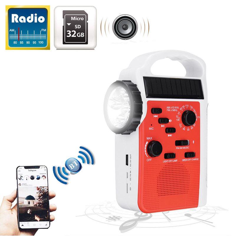 Top-AM/FM Bluetooth Solar Hand Crank Dynamo Outdoor Radio With Speaker Emergency Receiver Mobile Power Supply Flashlight