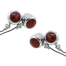4Pc Chrome Motorcycle Turn Signal Light Led Motor Lamp Bulb For Harley Cafe Racer