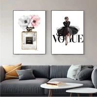 canvas poster fashion black dress canvas nordic wall art perfume with flower print painting decoration picture home decor framed